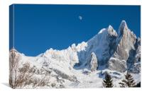 The moon above the French Alps, Canvas Print