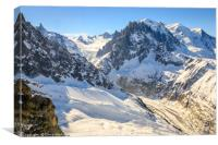 Mont Blanc and the Mer de Glace glacier, Canvas Print