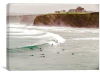 Surfing Newquay Cornwall, Canvas Print