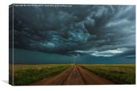 Lightning, End of the road. Tornado alley, USA. , Canvas Print