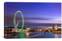 London at dusk with the London Eye, Westminster an, Canvas Print