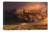 Distant Lightning with sunset storm clouds, Canvas Print