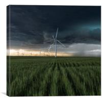 Lightning Bolt over a wind farm , Canvas Print