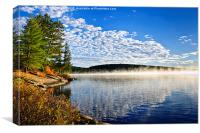Autumn lake shore with fog, Canvas Print