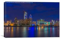 Blue hour in London, Canvas Print