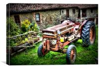 HDR Rusty tractor , Canvas Print