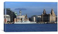 HMS Liverpools Final Visit To Liverpool, Canvas Print