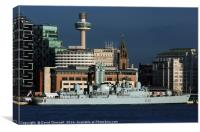 HMS Liverpools Final Visit To Liverpool , Canvas Print