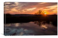 Red Rocks Sunset Reflection , Canvas Print