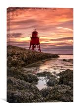 Herd Lighthouse at South Shields, Canvas Print