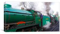 PAIR OF STEAM LOCOMOTIVES .A SCHOOLS CLASS WITH A , Canvas Print