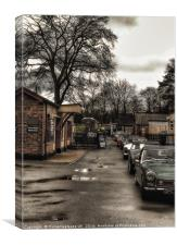 Classic cars at station , Canvas Print