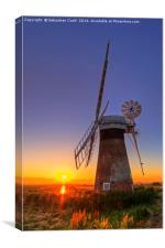 Sunset at Thurne mill, Canvas Print