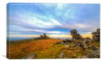 The redsky dances above great staple tor on Dartmo, Canvas Print