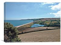 View Over Beesands from the Start Bay Coastal Path, Canvas Print