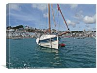 Luxury Yacht with Salcombe Town in the Background, Canvas Print