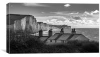 Coastguard Cottages and the Seven Sisters at Cuckm, Canvas Print