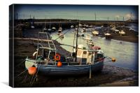 Fishing boats in low tide, Canvas Print