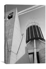 LIVERPOOL CATHOLIC CATHEDRAL BLACK AND WHITE, Canvas Print