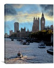 Westminster and the Thames, Canvas Print