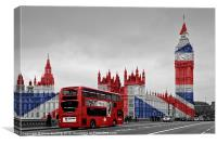 Union Jack and Red London Bus, Canvas Print