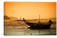 Boat at Low Tide, Canvas Print