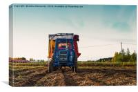 Old Tractor On The Autumn Fields, Canvas Print