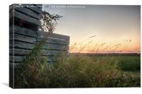 Sunset Behind Old Wooden Crates, Canvas Print