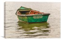 Old Fishing Boat at Santa Lucia River in Montevide, Canvas Print
