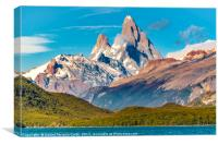Lake and Andes Mountains, Patagonia - Argentina, Canvas Print