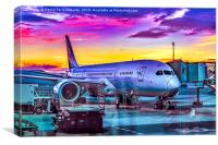 Plane Parked at Barajas Airport, Madrid, Spain, Canvas Print