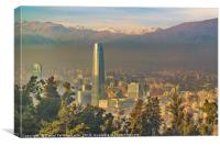 Santiago de Chile Aerial View from San Cristobal H, Canvas Print