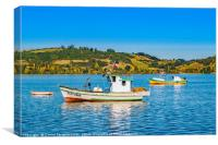 Fishing Boats at Lake, Chiloe, Chile, Canvas Print
