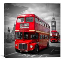 LONDON Red Buses on Westminster Bridge, Canvas Print