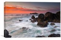 Beautiful sunset at Godrevy lighthouse., Canvas Print