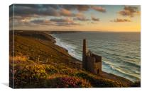 Sunset at Wheal Coates, St Agnes, Canvas Print
