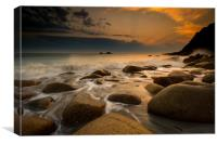 Porth Nanven sunset at low tide, Canvas Print