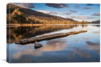 The old stone jetty on the shore of a very still L, Canvas Print