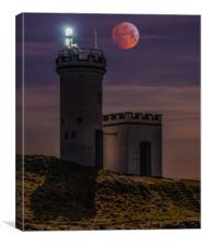Blood Wolf Moon Over Elie Ness Lighthouse, Canvas Print