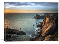 Sunset at the cliffs in Arrifana, Canvas Print