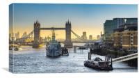 HMS Belfast and Tower Bridge, London, Canvas Print