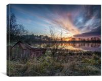 The old boat house at sunrise, Canvas Print