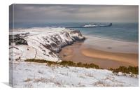 Worms Head, Rhossili Bay in winter, Canvas Print