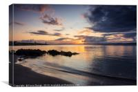 Islay: Port Charlotte Sunrise on the Rocks, Canvas Print