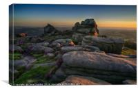 Over Owler Tor at sunset, Canvas Print