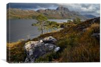 Rain clouds over Slioch and Loch Maree            , Canvas Print