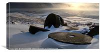 Abandoned Millstones at Stanage Edge in Winter, Canvas Print
