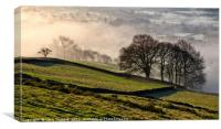 Bamford village shrouded in a mist inversion, from, Canvas Print