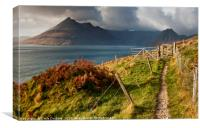 On the coastal path from Elgol to Camasunary, Canvas Print