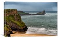 Worms Head, Rhossili Bay, the Gower Peninsula, Canvas Print